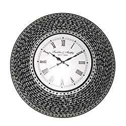 22.5 Black, Handmade Glass Mosaic Wall Clock, Quiet Motion Design by DecorShore