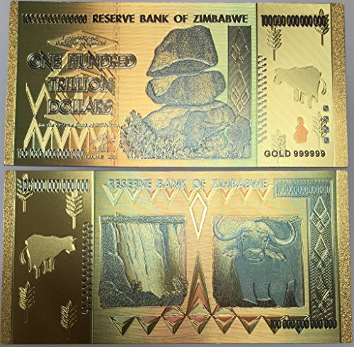 Aizics Mint $ 1,000,000,000,000 Gold Plated Zimbabwe Currency Note 24kt Gold Plated Bank Note. One-of-a-Kind Collectors Item