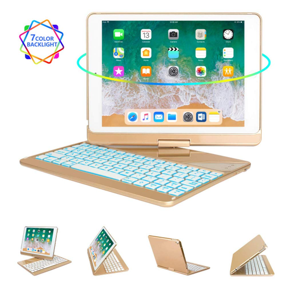 Jennyfly 2019 New 10.5 inch Keyboard Case, Auto Sleep-Wake Aluminum Shell 360 Rotate 7 Color Backlit Bluetooth Keyboard Cover Smart Wireless Keyboard Case for 2019 iPad Air 3 10.5 inch - Gold