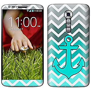 Skin Decal for LG G2 - Anchor Chevron Grey Green Turquoise Case