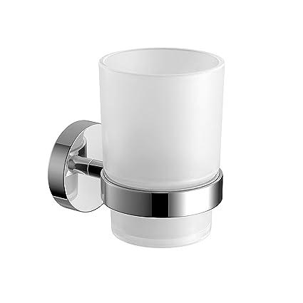 Soak Accesorio de baño: Moderno vaso de pared para cepillo de dientes con acabado cromado