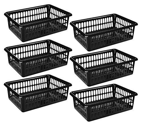 6 Pack - Plastic Storage Organizing Baskets, Food Pantry Closet Shelves Large Organizer Bins, 15