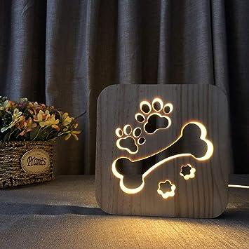 Lámpara De Escritorio LED 3D Ilusión Lámpara Creativa Perro ...
