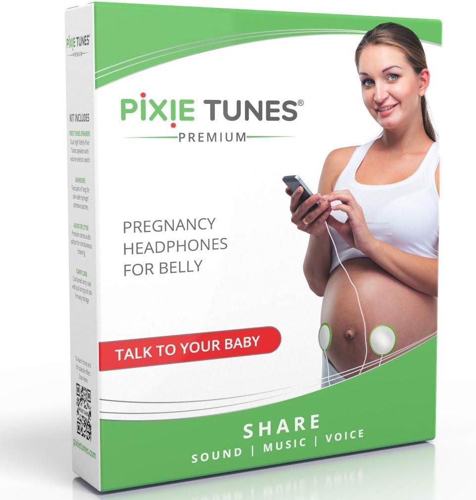 Pixie Tunes Sistema de bocinas Baby Bump para reproducir sonido, música y hablar con su bebé en el útero desde cualquier teléfono móvil, tableta y dispositivo de audio portátil. Blanco