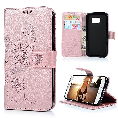 Modern Embossed Belt (S7 Case Wallet, KASOS Elegant Embossed Hollow Flower Butterfly Ants Pattern TPU Inner Shell Magnetic Front Closure PU Leather Wallet Kickstand & Card Slots Cover for Samsung Galaxy S7- Rose)