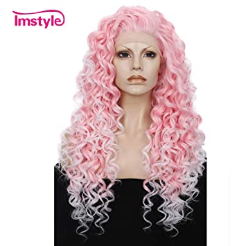 f320a09ef Amazon.com : Imstyle Ombre Pink Curly Lace Front Wigs For Women Cosplay  Costume Daily Wear Bounce Fluffy Hair Heat Resistant 26 Inch(Pink) : Beauty