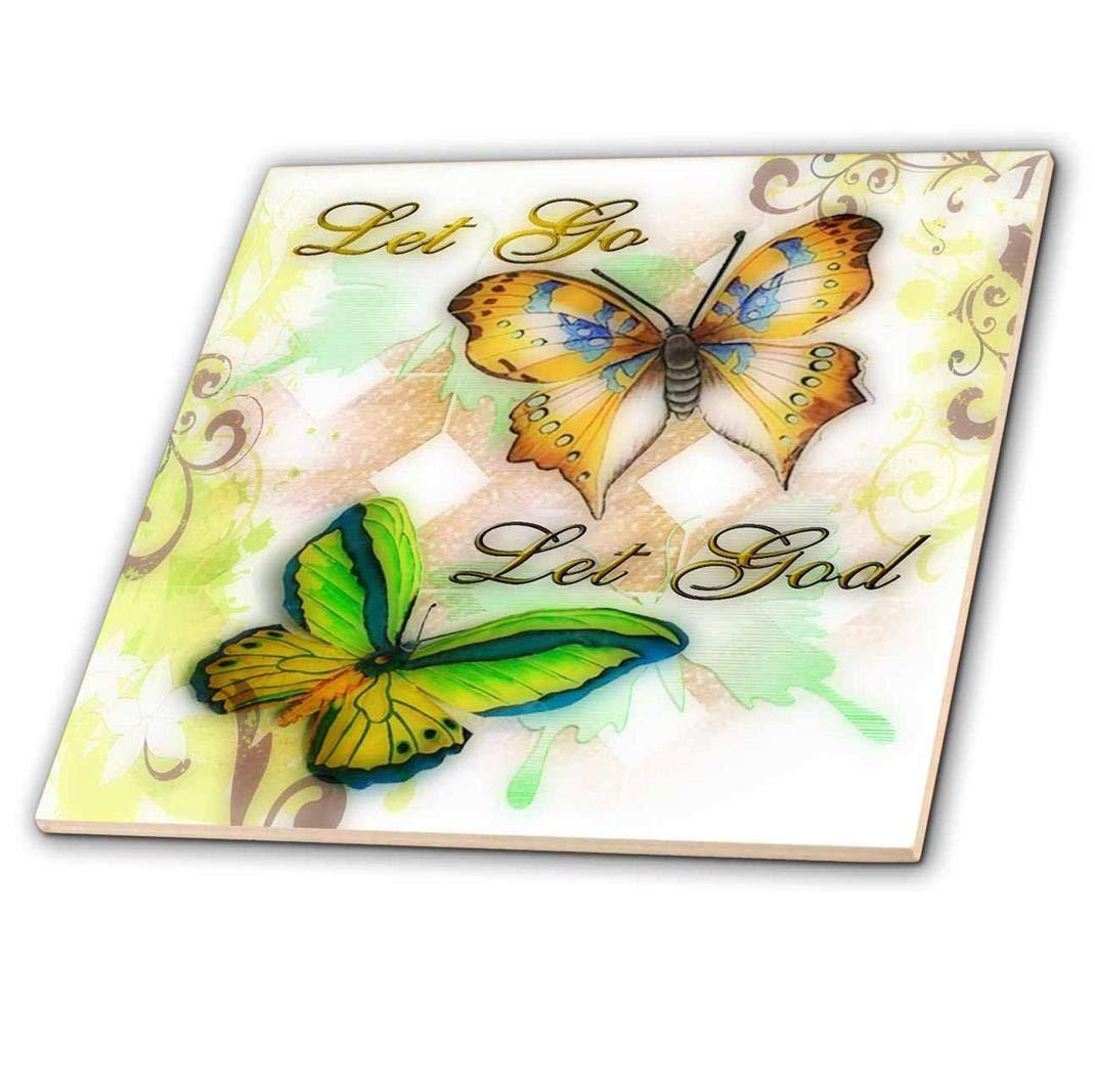 3dRose ct/_55923/_4 Let Go Let God Butterfly Digital Print-Ceramic Tile 12-Inch