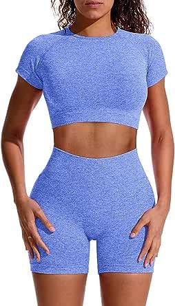 GXIN Women Workout 2 Piece Outfit Yoga Stretch Top Set High Waist Sport Shorts