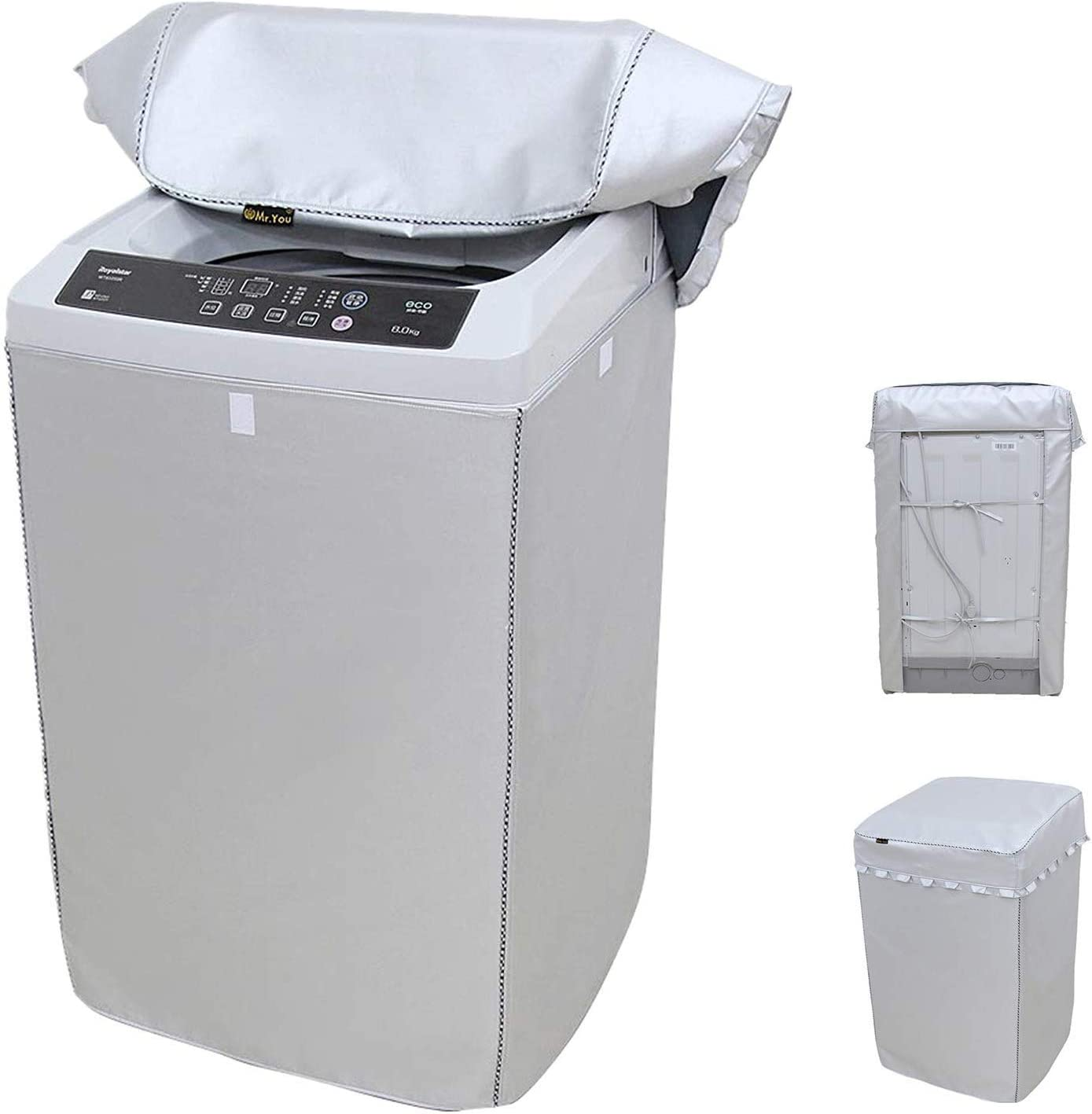 Washing Machine Cover Thickening Double-side silver coated fabric Waterproof Sunscreen dust-proof cover (L(W23D24H36in), Silver)