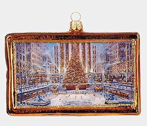 Pinnacle Peak Trading Company Rockefeller Center New York Picture Frame Polish Blown Glass Christmas Ornament -