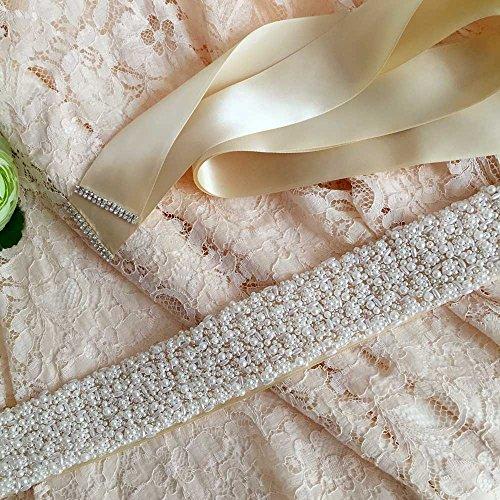 Bridal Off Wedding Wedding Belt Women's Pearls Sash for Belts White Azaleas Sashes w6xXaCq