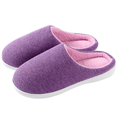 Meida Women's Classic Two-Tone Memory Foam Knit House Slippers, Soft Coral Fleece Lining Anti-Skid Indoor/Outdoor Shoes Purple/Pink | Slippers