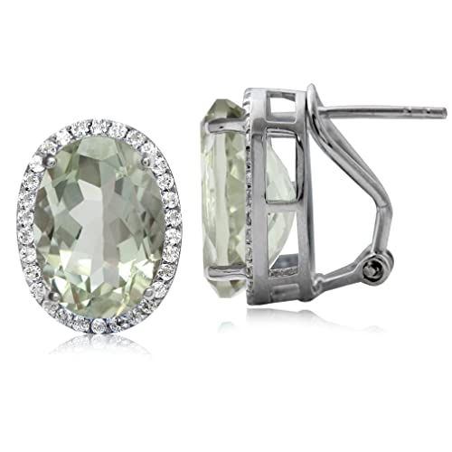8.52ct. Classic Green Amethyst Topaz White Gold Plated Sterling Silver Omega Clip Post Earrings