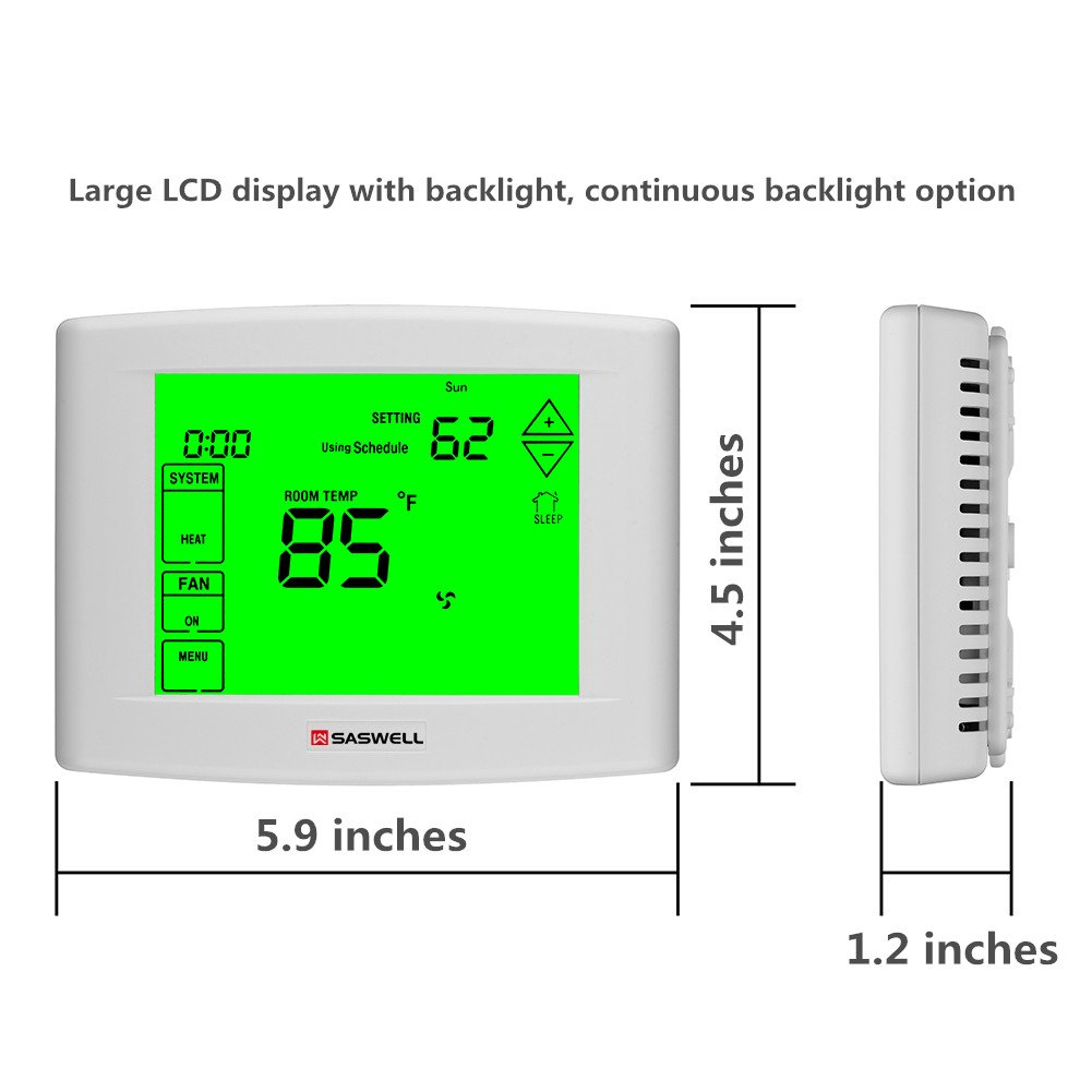 Wifi Thermostat with 7 days Programmable, Large Touch Screen Display, Remote Control, Dual powered, 3 Heat 2 Cool, Saswell SAS6000UTK-7-Wifi - - Amazon.com