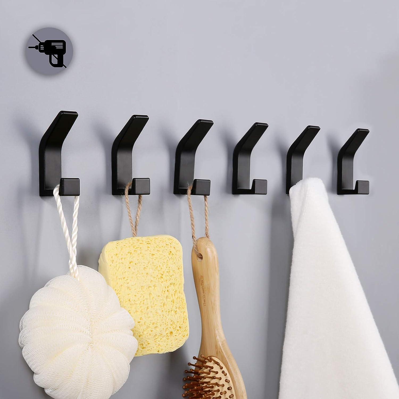 6 Ganci per asciugamani da bagno Gancio Doppio Porta Asciugamano for Kitchen Ganci Autoadesivi Aluminum Nero Office Bathroom