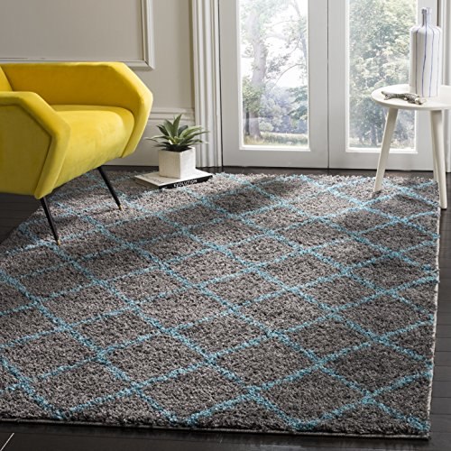 Safavieh Arizona Shag Collection ASG742K Grey and Turquoise Blue Area Rug (5'1