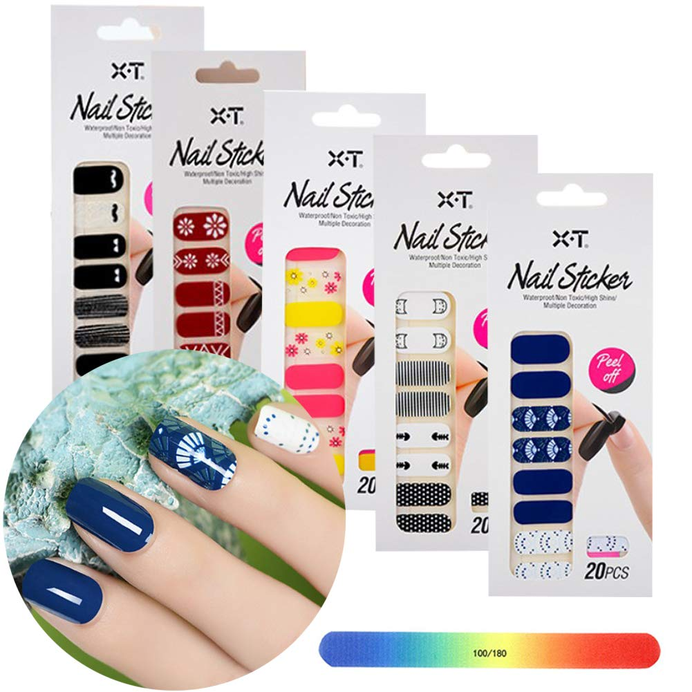 BornBeauty Nail Adhesive Stickers Set Pink Flower Designs Nail Art Wraps for Women Fingers and Toes DIY Manicure Kits by BornBeauty