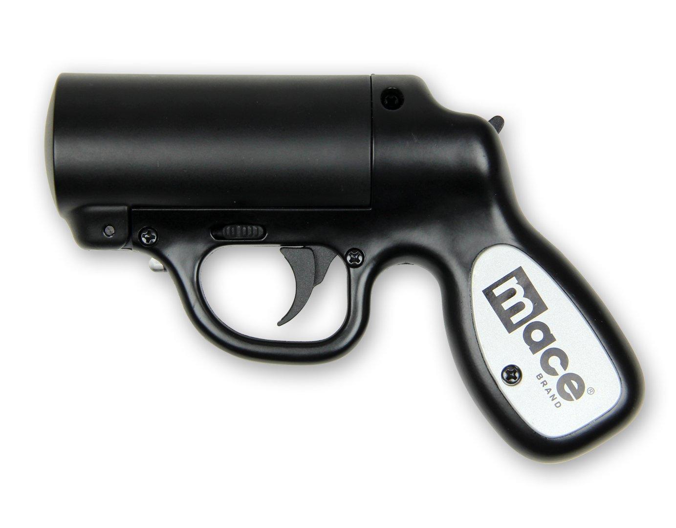 Mace Pepper-Gun / Pfefferspray-Pistole / Reizstoff-Pistole mit Strobe LED-Blitzlicht - In Schwarz - Nachfüllbar - Made in USA