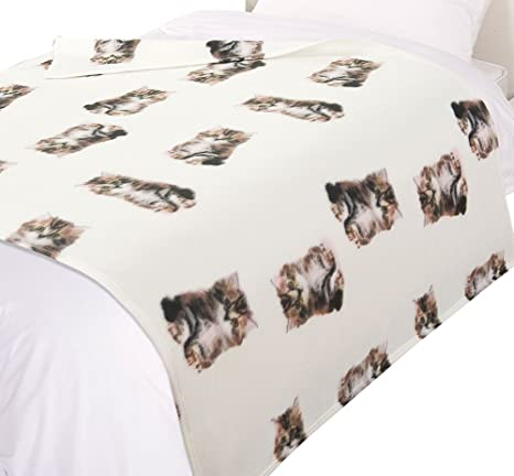 Dreamscene – Colcha de manta de diseño de gatos, estampado animal, color beige/