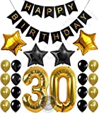 30th Birthday Party Decorations Kit, Happy Birthday Banner, 30th Gold Number Balloons,Gold and Black, Number 30, Perfect 30 Years Old Party Supplies,Free Bday Printable Checklist