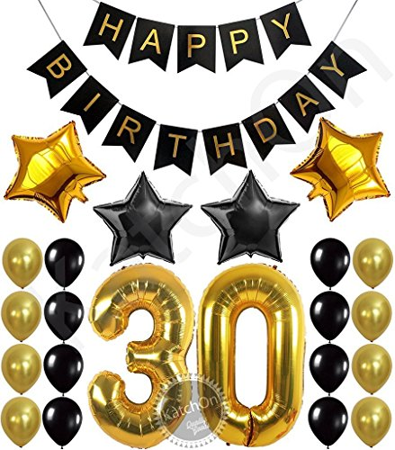 30th BIRTHDAY PARTY DECORATIONS KIT - Happy Birthday Banner, 30th Gold Number Balloons,Gold and Black, Number 30, Perfect 30 Years Old Party Supplies,Free Bday Printable (30 Birthday Party Decorations)