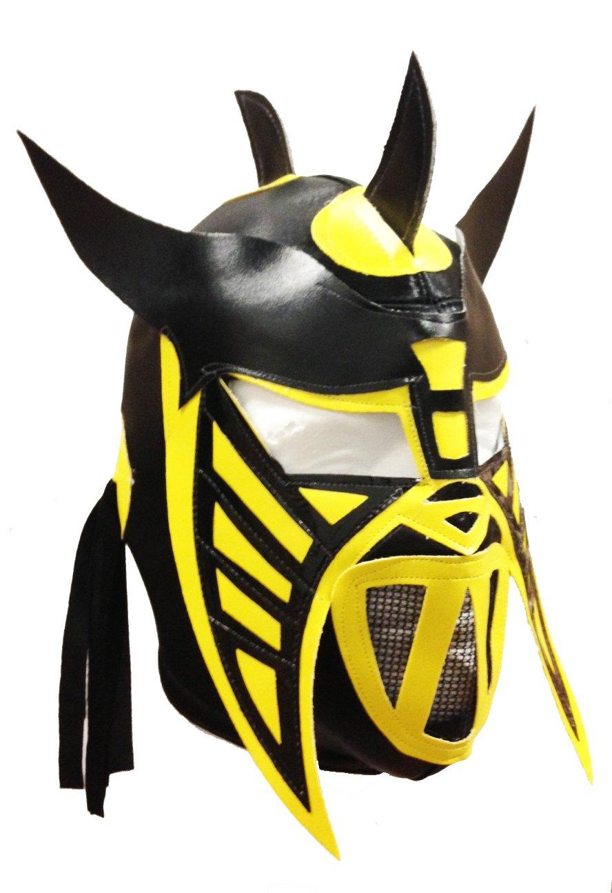 HYSTERIA Lucha Libre Wrestling Mask (pro-fit) Costume Wear - Black/Yellow/Blk