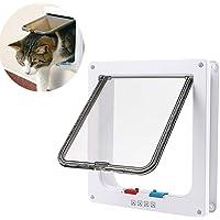 "RCRuning-EU Cat Flap, Pet Door, 4-Way Lockable, Fast installation Flaps for Pet Cats (9.21"" x 9.84"", White)"