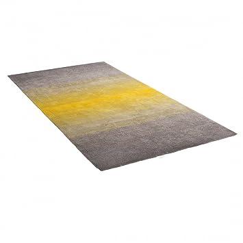 Teppich Grau Gelb   160x230 Cm   Shaggy   Polyester   DINAR