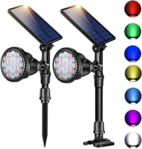 ROSHWEY Outdoor Solar Spot Lights,Super Bright 18 LED Security Lamps Waterproof Spotlight for Garden Landscape Path Walkway Deck Garage (7 Colors, 2 Pack)
