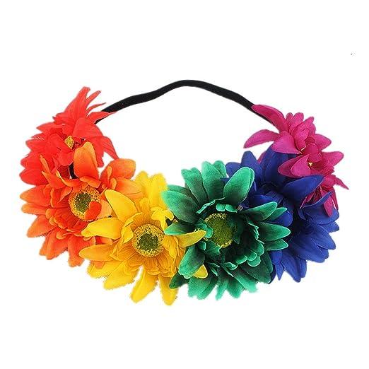 Rainbow Sunflower Headband Colorful Flower Crown Wreath Hair Accessories  NFH02 (Rainbow) 7b27056e156