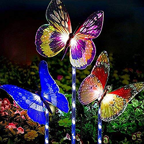 Rebound Garden Solar Lights Outdoor, 3 Pack Solar Stake Lights Multi-Color Changing LED Butterfly Garden Decor, Fiber Optic Butterfly Decorative Lights with a Purple LED Light Stake for Garden Patio