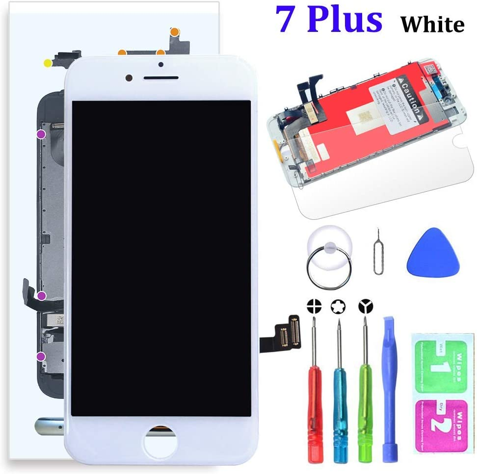 SZRSTH Compatible with iPhone 7 Plus Screen Replacement White 5.5 Inch LCD Display with 3D Touch Screen Digitizer Frame Assembly Include Full Free Repair Tools Kit+Instruction+Screen Protector