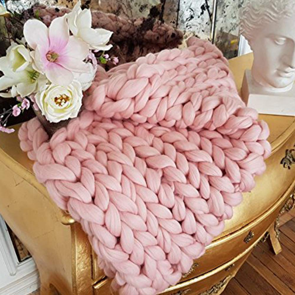 Light Pink Chunky Blanket Wool Blanket Merino Wool Knit Blanket 79x79in Giant Throw Super Big Bulky Yarn Arm Knitting Throw Home Decor Birthday Gift by Clisil (Image #6)