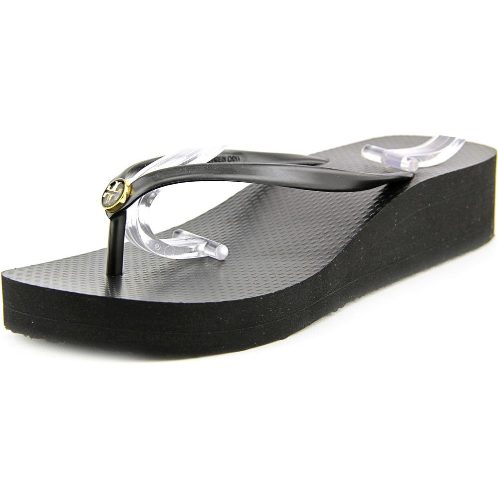 Tory Burch Women's Wedge Thin Flip Flop Black/Black 7 M
