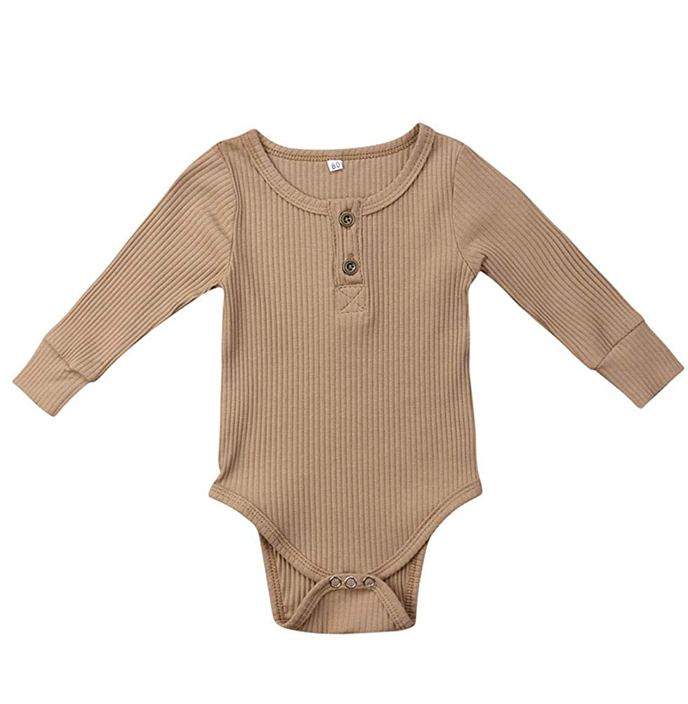 Emmababy Unisex Newbown Baby Girls Knitted Romper Long Sleeve Sweater Buttons Bodysuit Pajamas Top Fall Winter Clothing