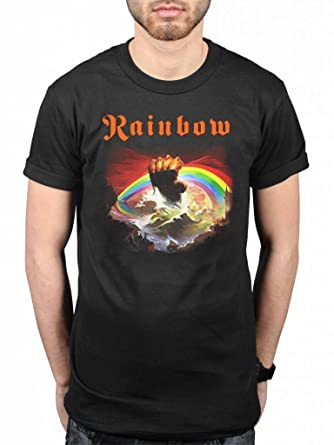 60ef211cf209 Official Rainbow Rising T-Shirt Rock Band Heavy Metal Album On Stage   Amazon.co.uk  Clothing