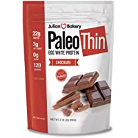 Julian Bakery Paleo Thin Protein Powder | Chocolate | Egg White | Soy Free | 22g Egg White Protein | 3 Net Carbs | 2.18…