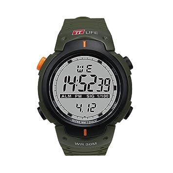 TTLIFE TS07 Reloj de Pulsera Deportivo Unisexo Reloj Digital Reloj Impermeable Multifuncional Reloj al Aire Libre para Hombres y Mujeres (Verde): Amazon.es: ...