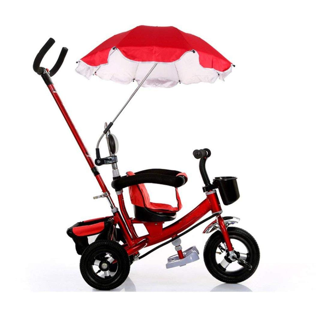Baby Stroller Umbrella, Sunbona Baby Stroller Cover Parasol with Universal Clamp for Sun Rain Protection UV Rays Outdoor Umbrella (Red)