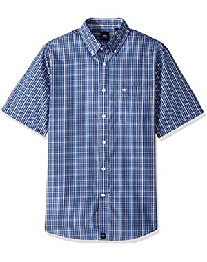 Men's Short-Sleeve Plaid Button-Front Shirt with Pocket