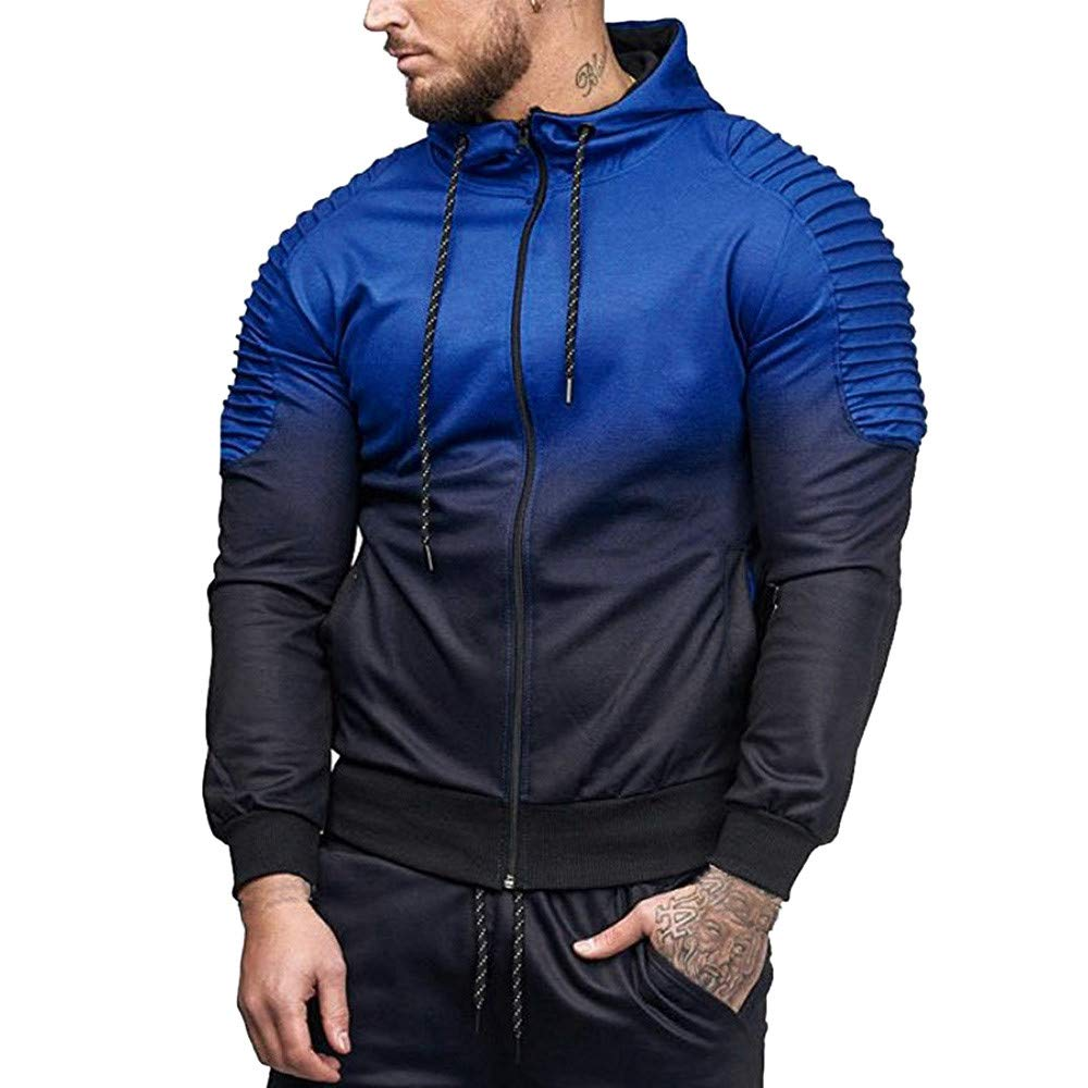 WOCACHI Mens Hoodies Patchwork Pleated Hooded Outerwear Pullover Sweatshirt WOCACHI-180904
