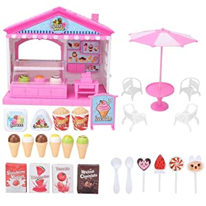 Educational Toy, Eco-Friendly Lovely Appearance Pretend Play Food, Lightweight and Easy to Carry Nontoxic and Safe Boys for Gilrs Kindergarten Home(ice Cream Shop)