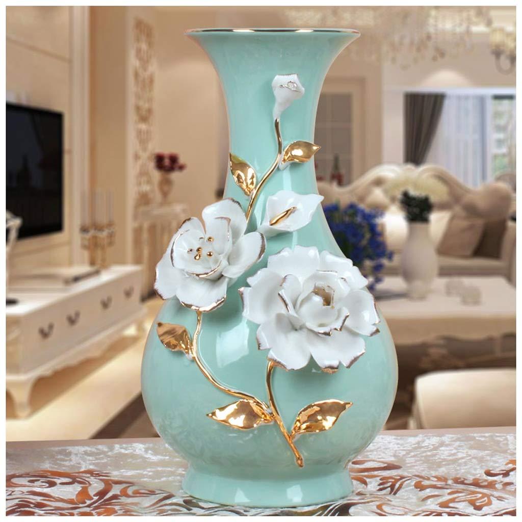 Unbekannt Home Decoration Keramik Vase Gold Rose Wohnzimmer Schreibtisch Jade Porzellan Vase Wein Kabinett Dekoration ZHAOJING (Farbe : A)