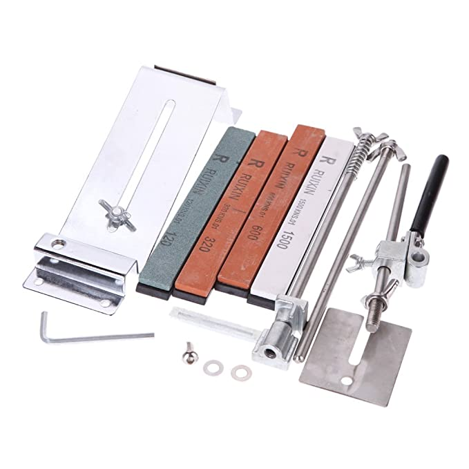 8milelake Upgraded Fixed-angle Knife Sharpener Kit Full Metal Professional 4 Sharpening Stones
