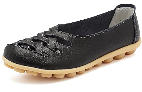 08e2796f4593 Women s Leather Loafers Moccasins Casual Flat Boat Shoes Cut Out Driving Sandals  Black