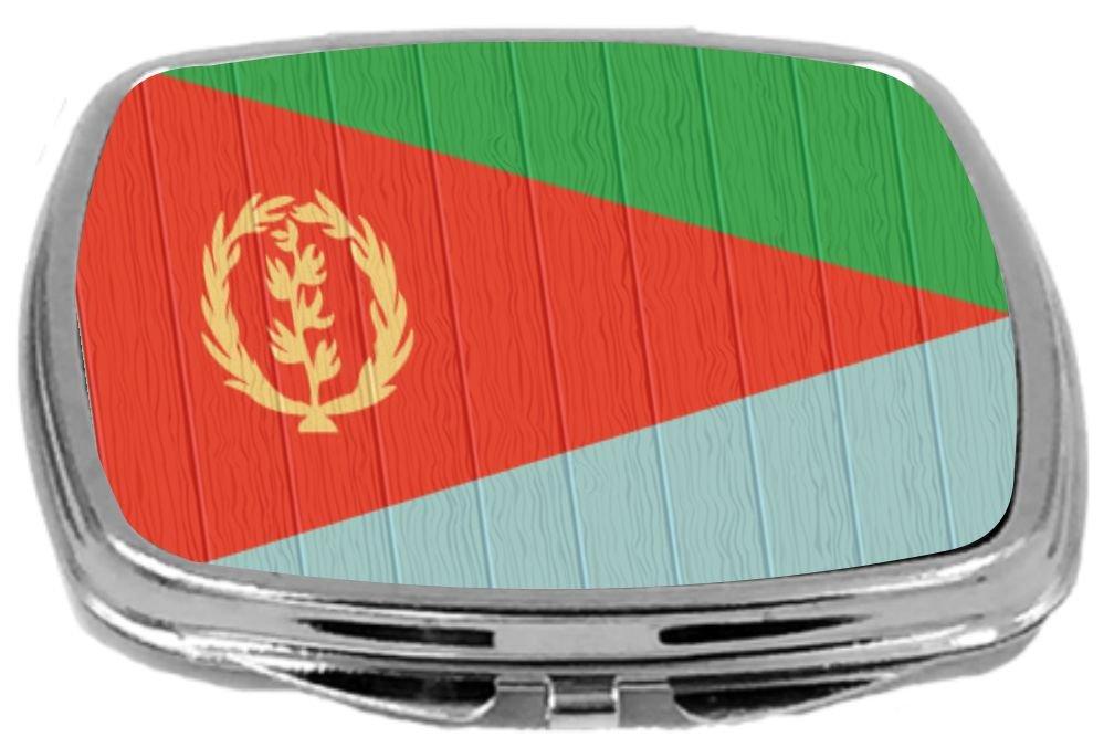 Rikki Knight Compact Mirror on Distressed Wood Design, Eritrea Flag, 3 Ounce