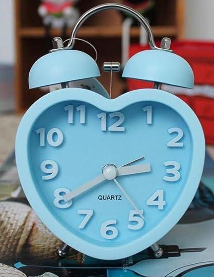 GAOHL Sonido despertador en forma de corazón escritorio reloj Digital estéreo Bell , blue