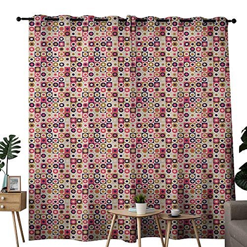NUOMANAN Curtains 84 inch Length Geometric,Grid Design Checkered Squares with Colorful Bullseye Circles Doodle Style Image, Multicolor,Modern Farmhouse Country Curtains 84