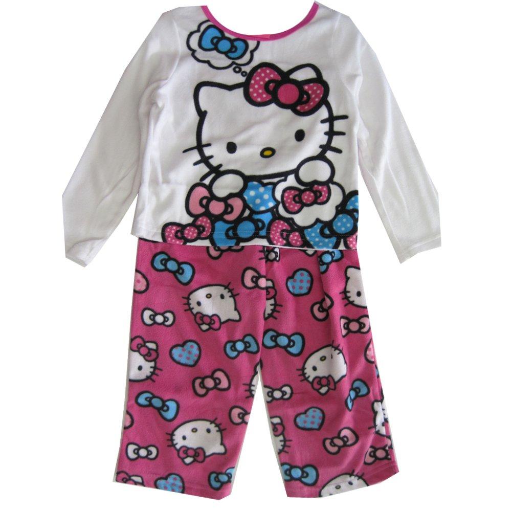 Hello Kitty Little Girls Fuchsia Kitty Image Bow Print 2 Pc Pajama Set 4T