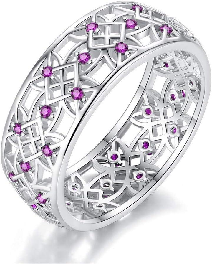 NOBRAND Anillo de circón de Moda Creativa Accesorios de Damas Distinguido (Color : Purple, Size : Number 6)